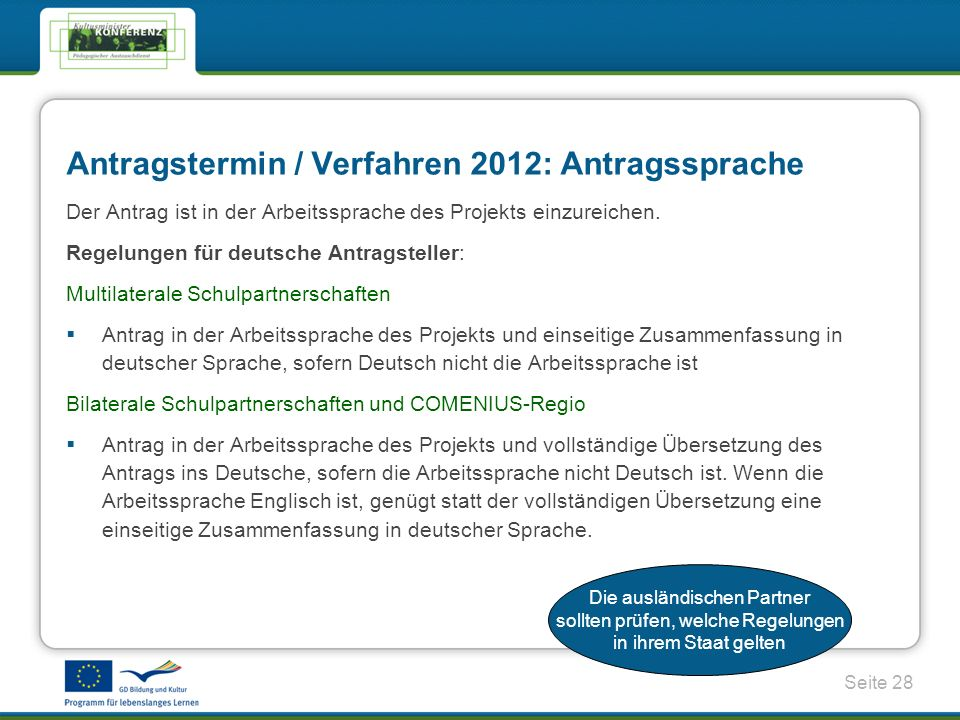 Antragstermin / Verfahren 2012: Antragssprache
