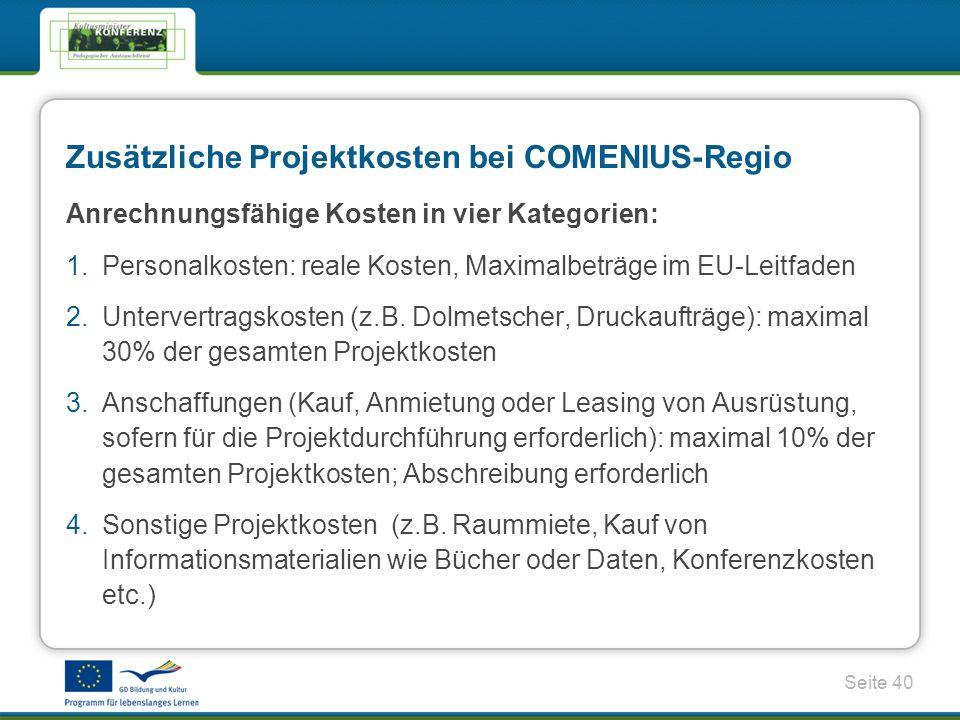 Zusätzliche Projektkosten bei COMENIUS-Regio