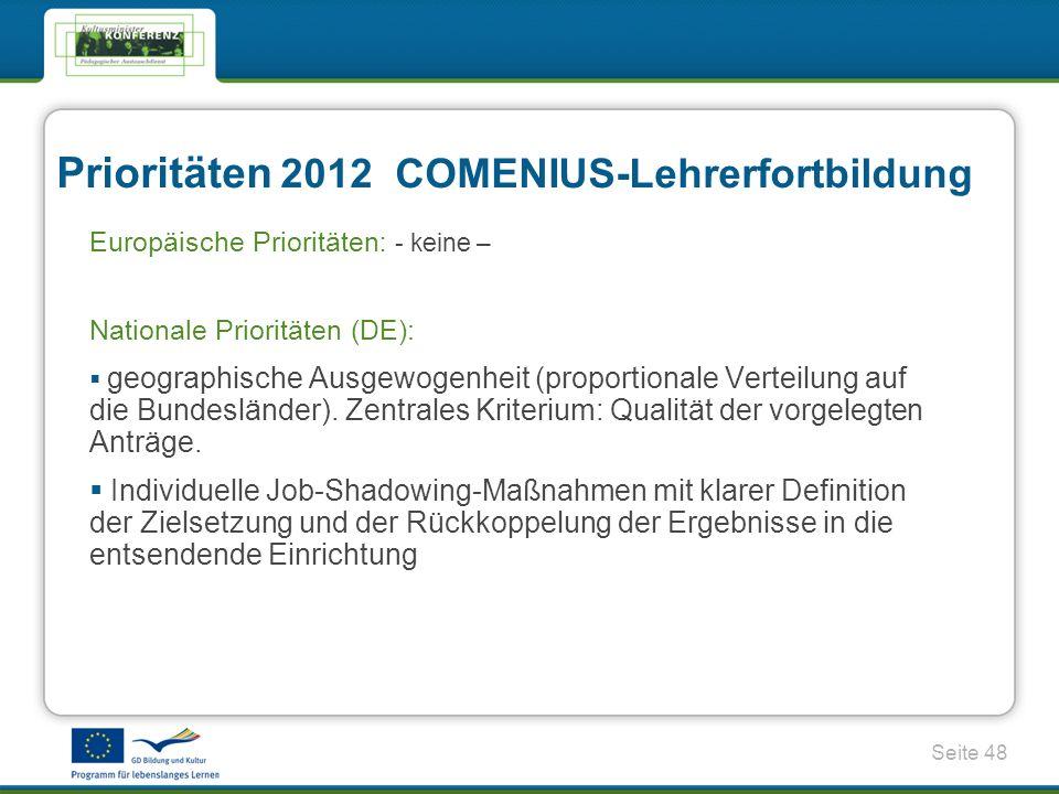 Prioritäten 2012 COMENIUS-Lehrerfortbildung