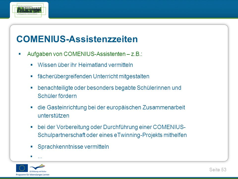 COMENIUS-Assistenzzeiten