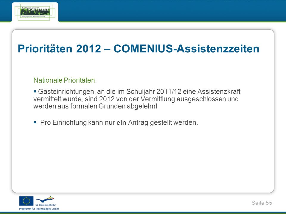 Prioritäten 2012 – COMENIUS-Assistenzzeiten