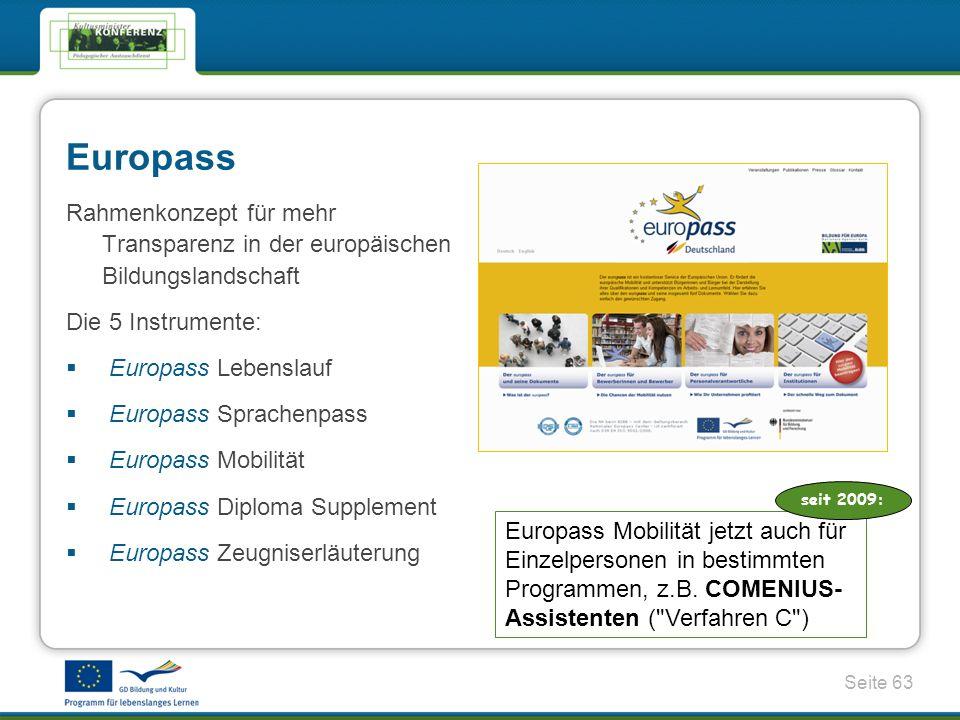 Europass Rahmenkonzept für mehr Transparenz in der europäischen Bildungslandschaft. Die 5 Instrumente: