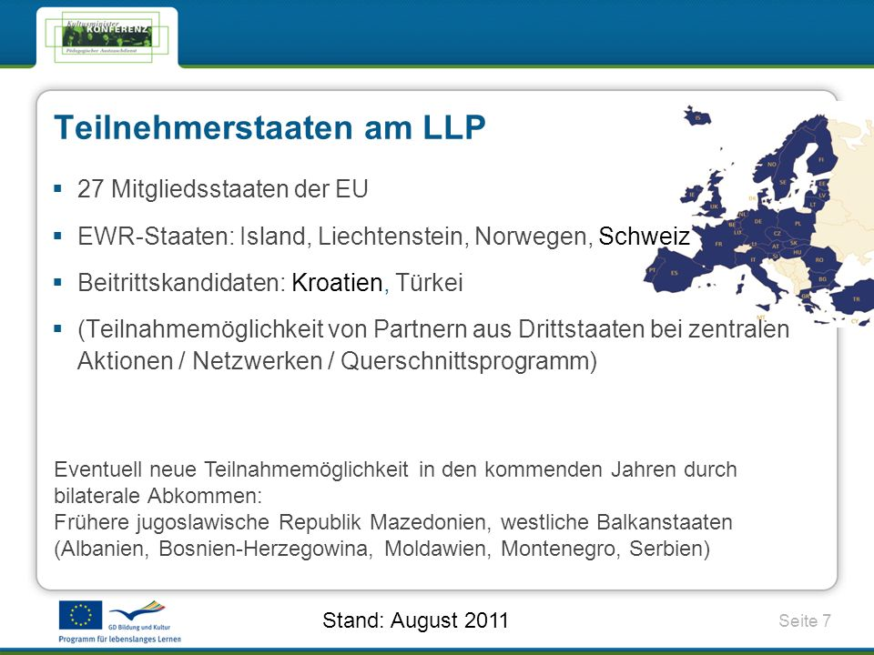 Teilnehmerstaaten am LLP