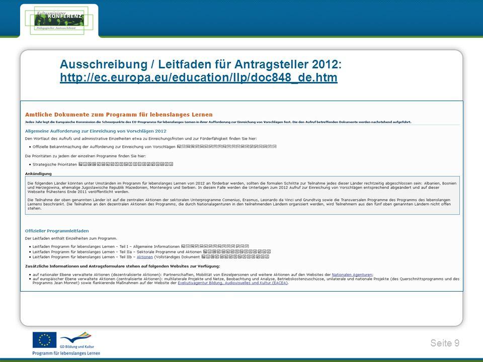 Ausschreibung / Leitfaden für Antragsteller 2012: http://ec. europa