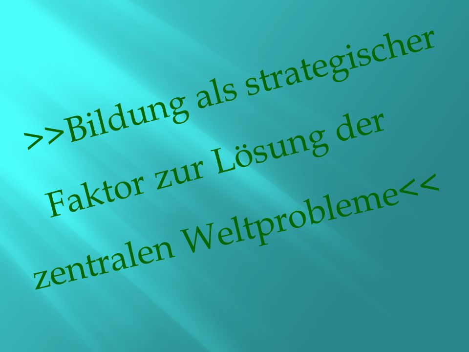 >>Bildung als strategischer