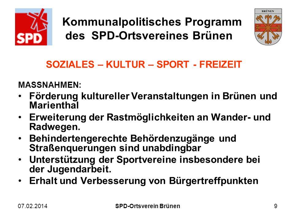 SOZIALES – KULTUR – SPORT - FREIZEIT SPD-Ortsverein Brünen