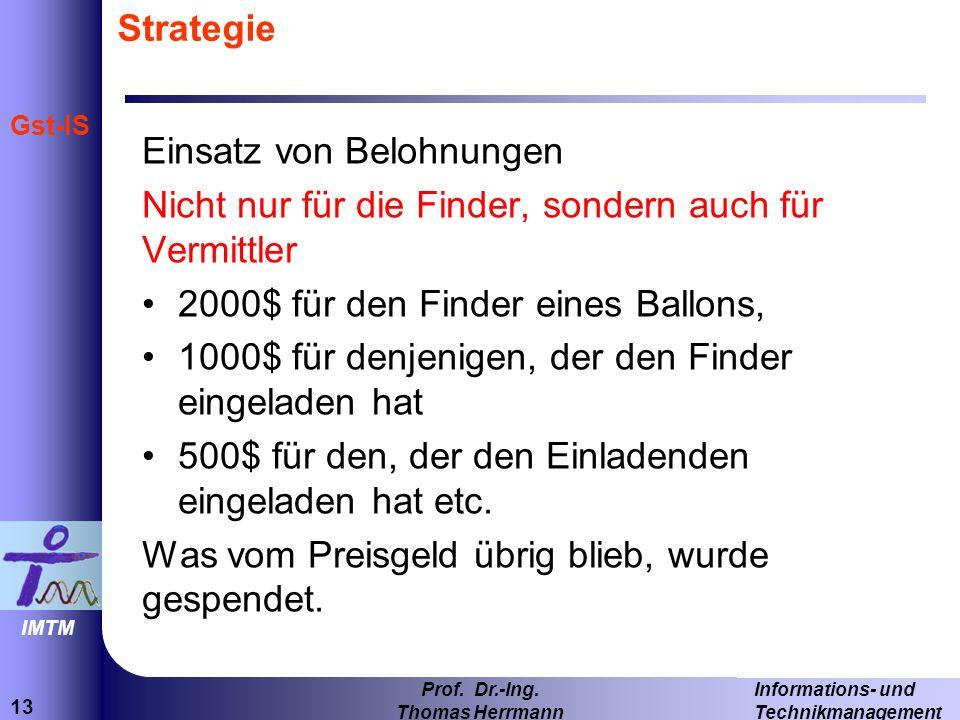 StrategieEinsatz von Belohnungen. Nicht nur für die Finder, sondern auch für Vermittler. 2000$ für den Finder eines Ballons,