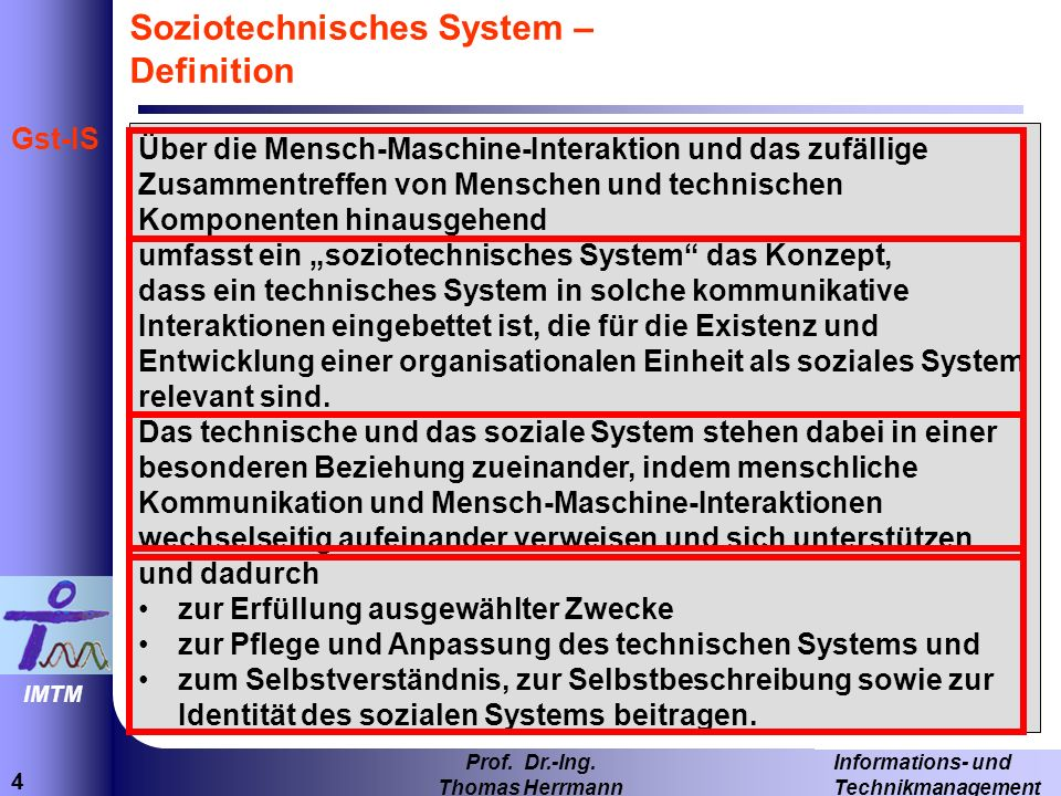 Soziotechnisches System – Definition