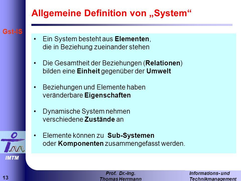 """Allgemeine Definition von """"System"""