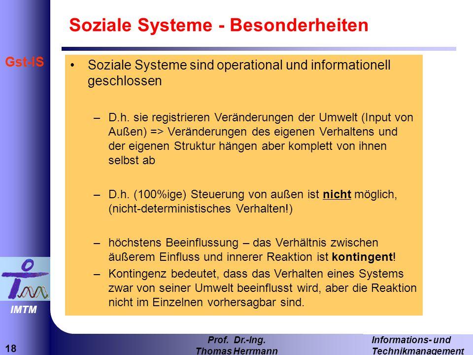 Soziale Systeme - Besonderheiten