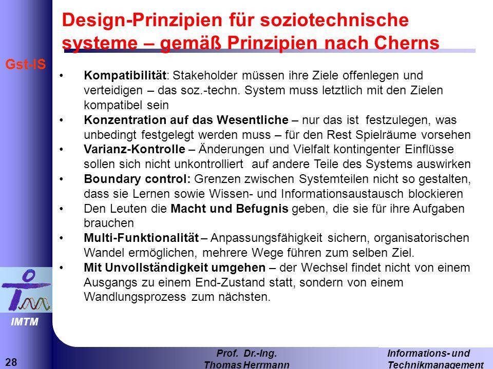 Design-Prinzipien für soziotechnische systeme – gemäß Prinzipien nach Cherns