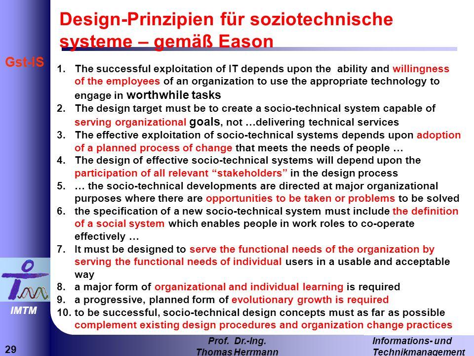 Design-Prinzipien für soziotechnische systeme – gemäß Eason