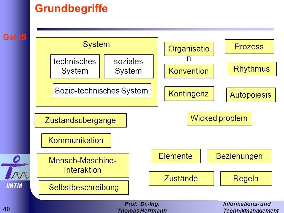 Grundbegriffe System Prozess Organisation technisches System