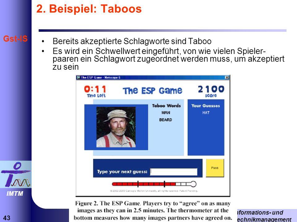 2. Beispiel: Taboos Bereits akzeptierte Schlagworte sind Taboo