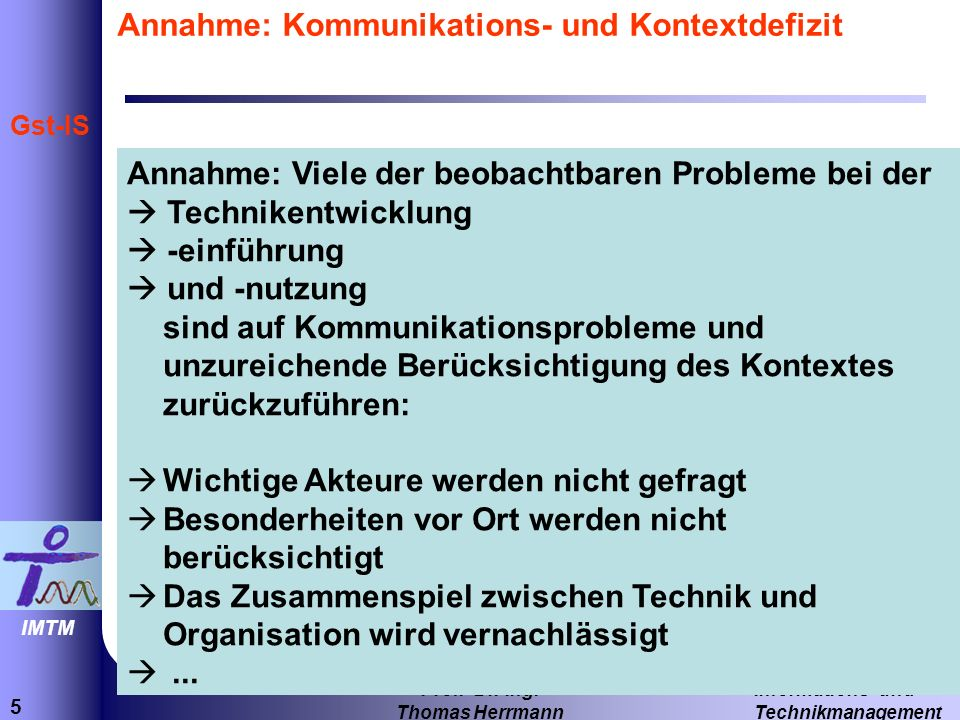 Annahme: Kommunikations- und Kontextdefizit