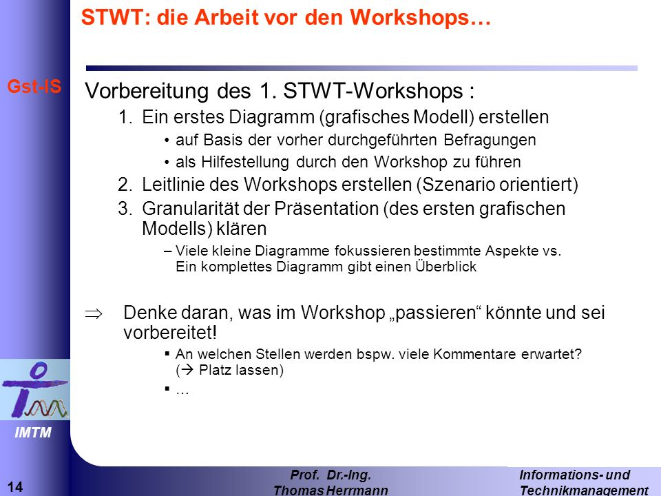 STWT: die Arbeit vor den Workshops…
