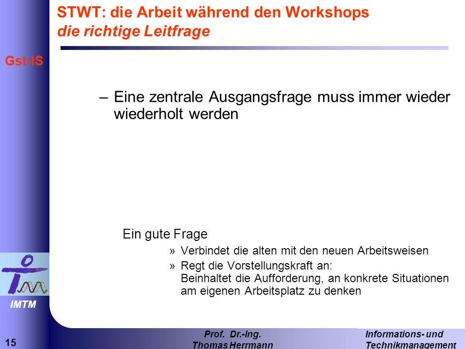 STWT: die Arbeit während den Workshops die richtige Leitfrage