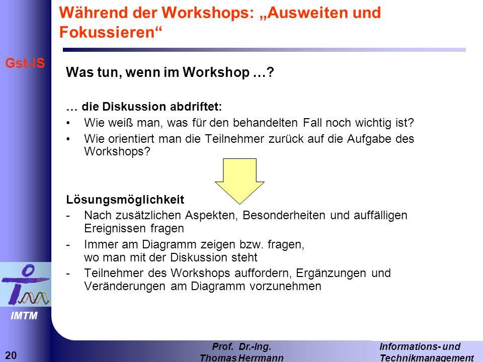 """Während der Workshops: """"Ausweiten und Fokussieren"""