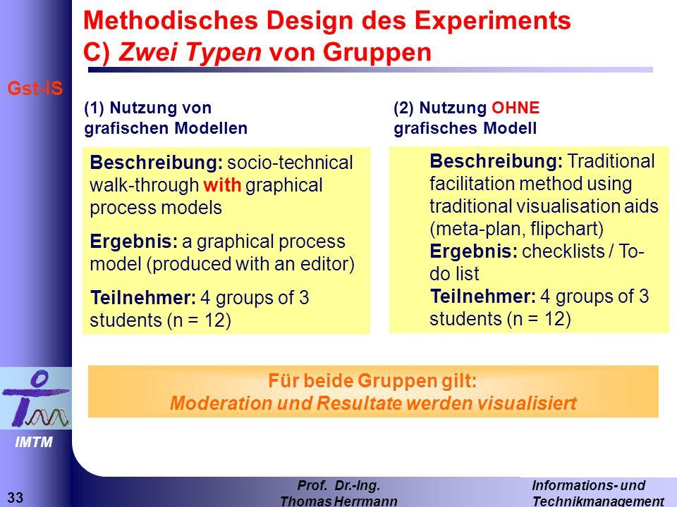 Methodisches Design des Experiments C) Zwei Typen von Gruppen
