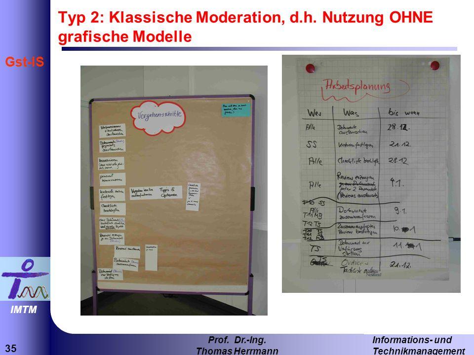 Typ 2: Klassische Moderation, d.h. Nutzung OHNE grafische Modelle