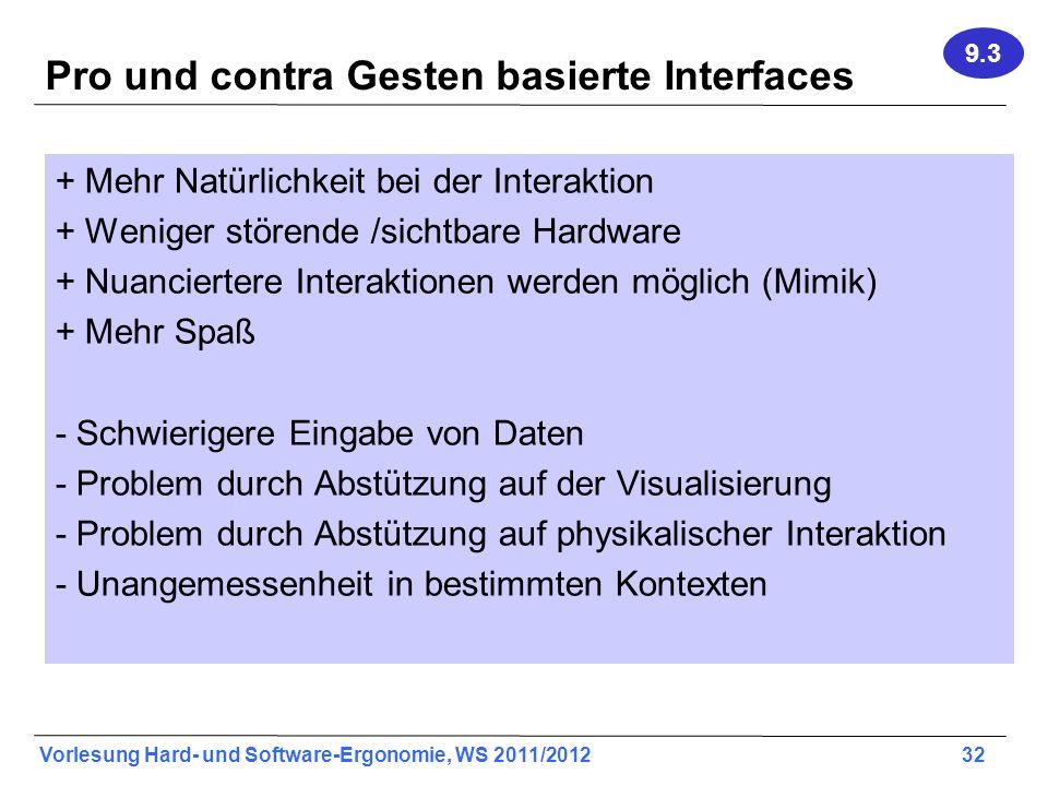 Pro und contra Gesten basierte Interfaces