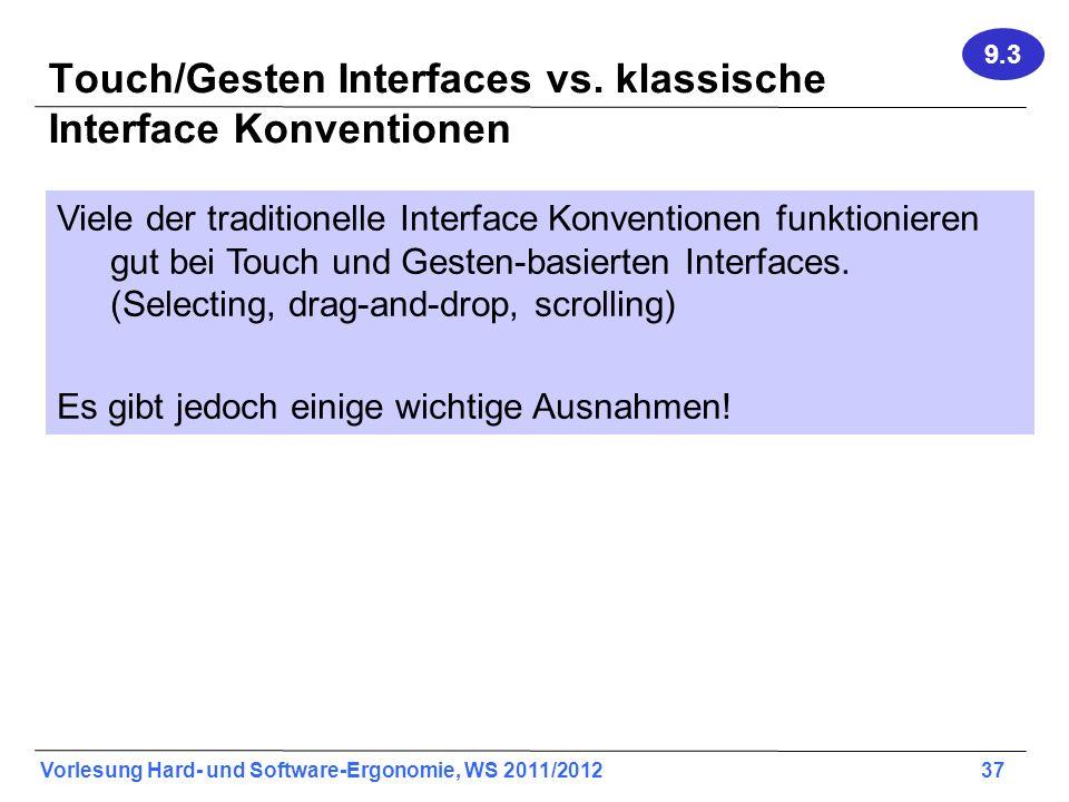 Touch/Gesten Interfaces vs. klassische Interface Konventionen
