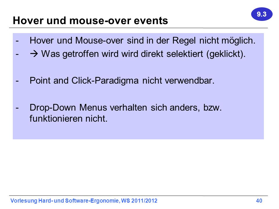 Hover und mouse-over events