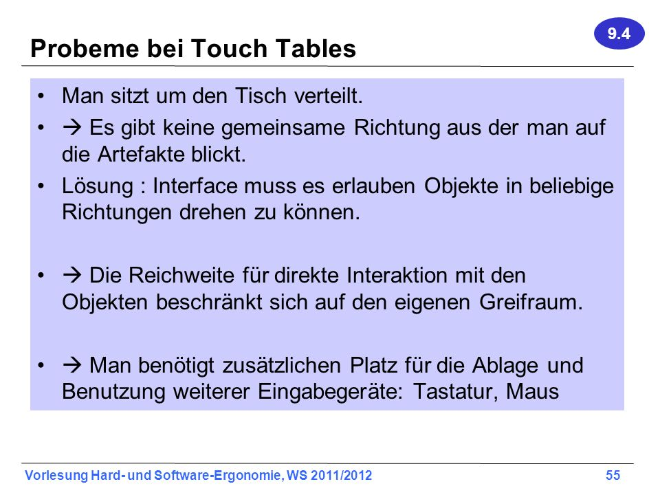 Probeme bei Touch Tables