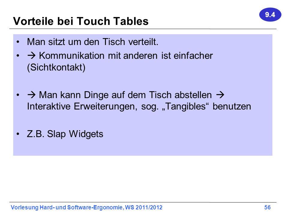 Vorteile bei Touch Tables