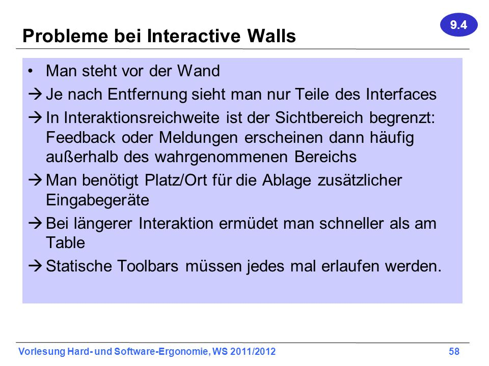 Probleme bei Interactive Walls