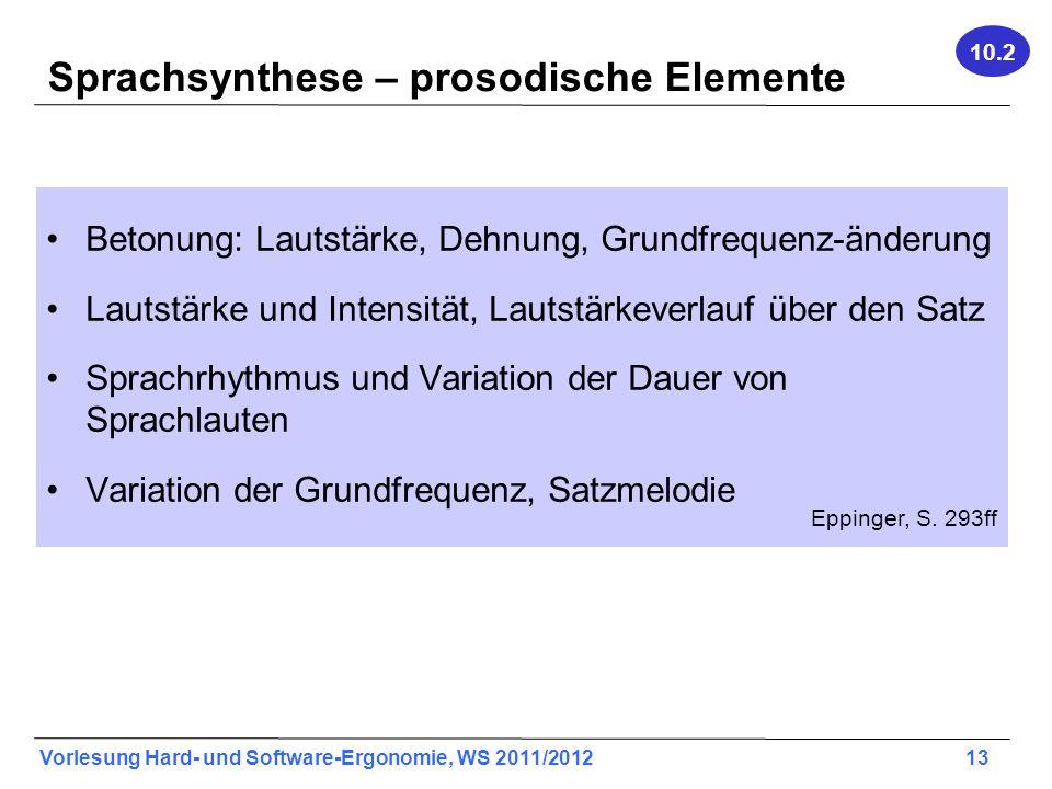 Sprachsynthese – prosodische Elemente