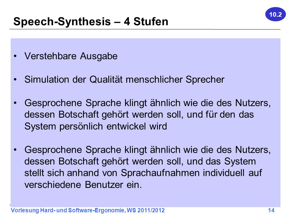 Speech-Synthesis – 4 Stufen