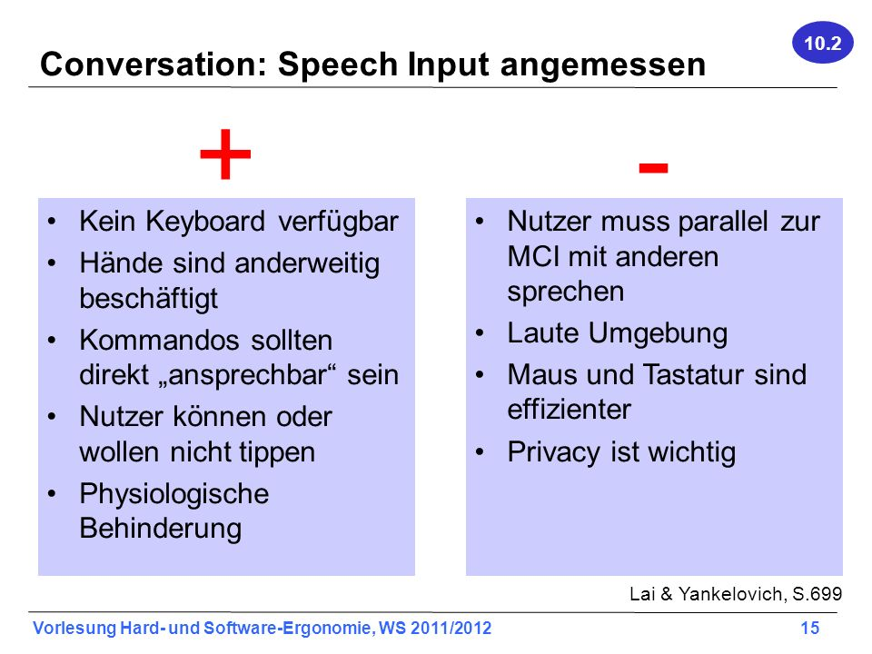 Conversation: Speech Input angemessen