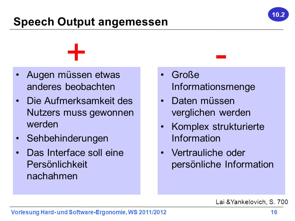 Speech Output angemessen