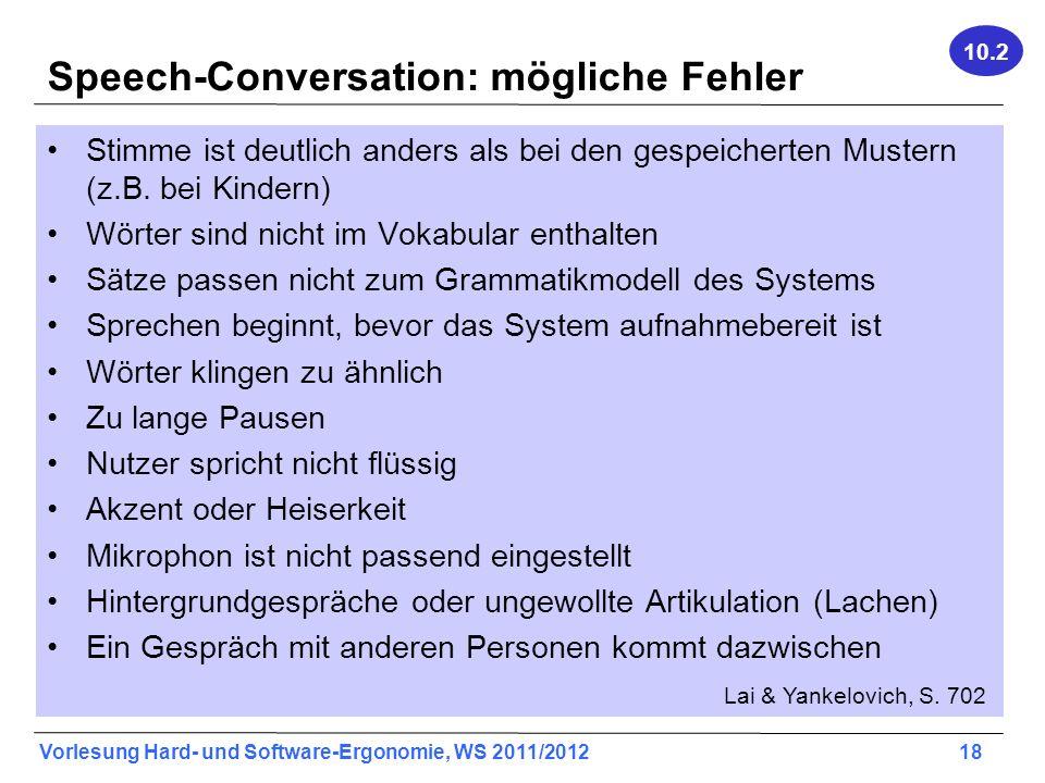 Speech-Conversation: mögliche Fehler