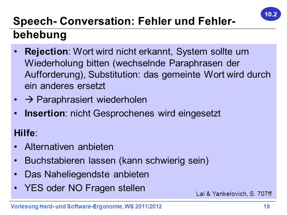 Speech- Conversation: Fehler und Fehler-behebung