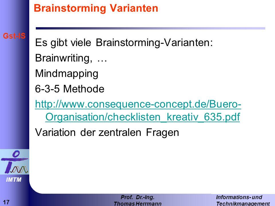 Brainstorming Varianten