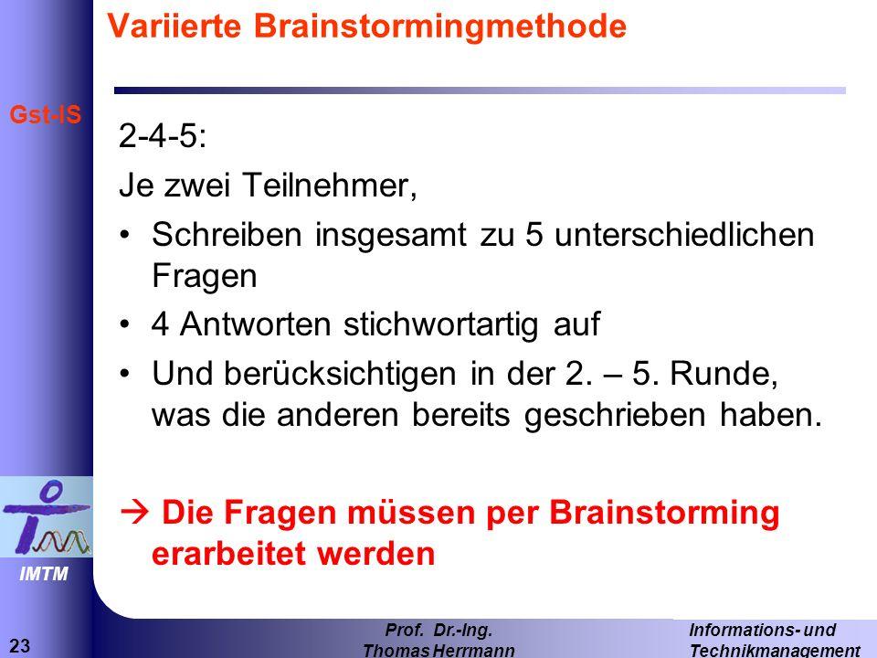 Variierte Brainstormingmethode