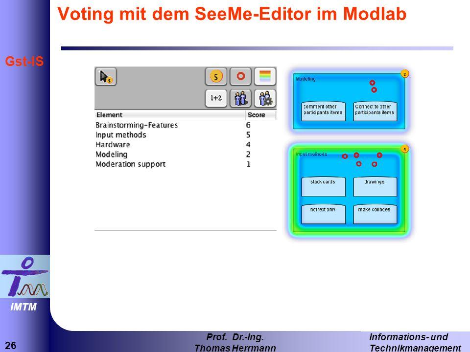 Voting mit dem SeeMe-Editor im Modlab