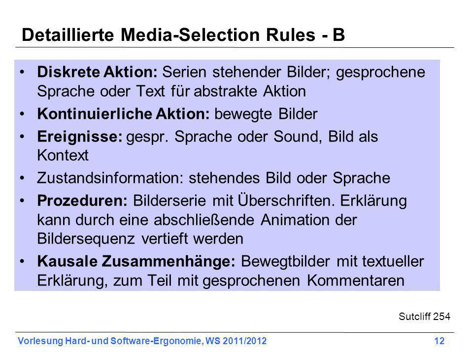 Detaillierte Media-Selection Rules - B