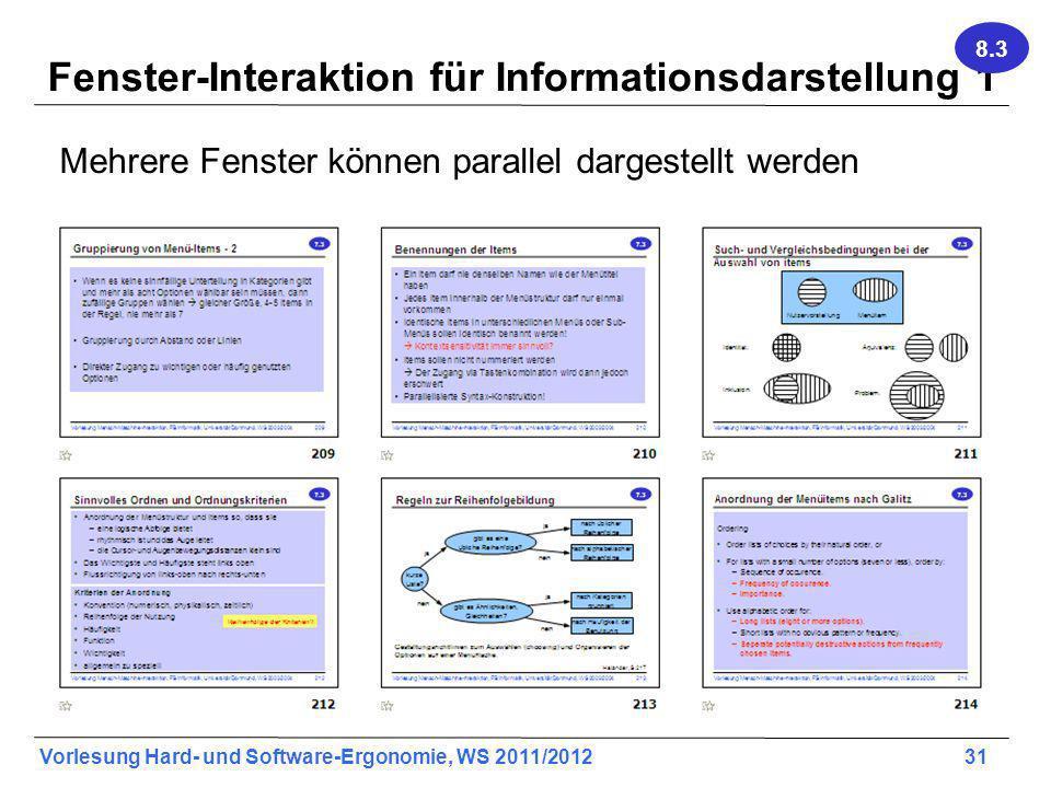 Fenster-Interaktion für Informationsdarstellung 1