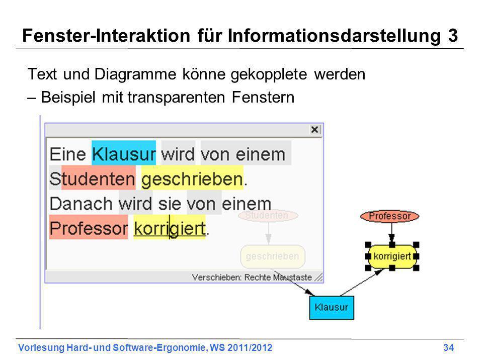 Fenster-Interaktion für Informationsdarstellung 3