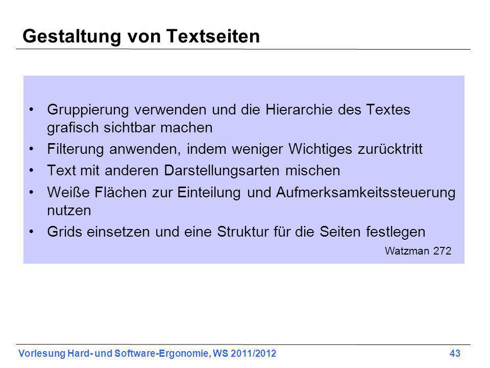 Gestaltung von Textseiten