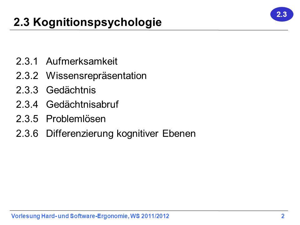2.3 Kognitionspsychologie