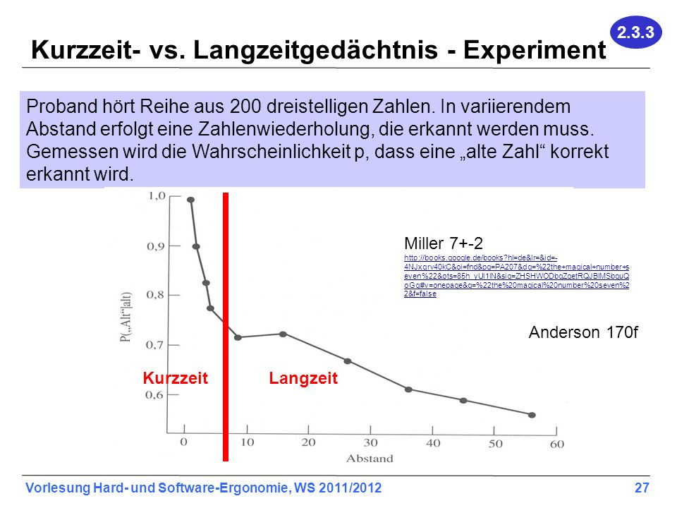 Kurzzeit- vs. Langzeitgedächtnis - Experiment