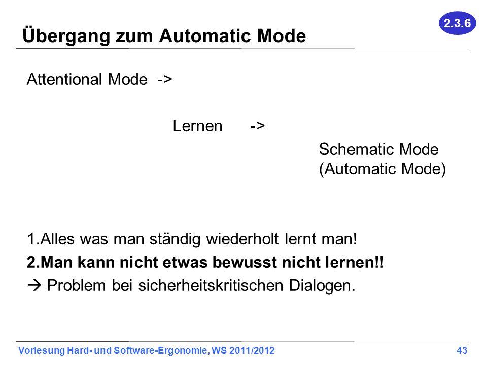 Übergang zum Automatic Mode