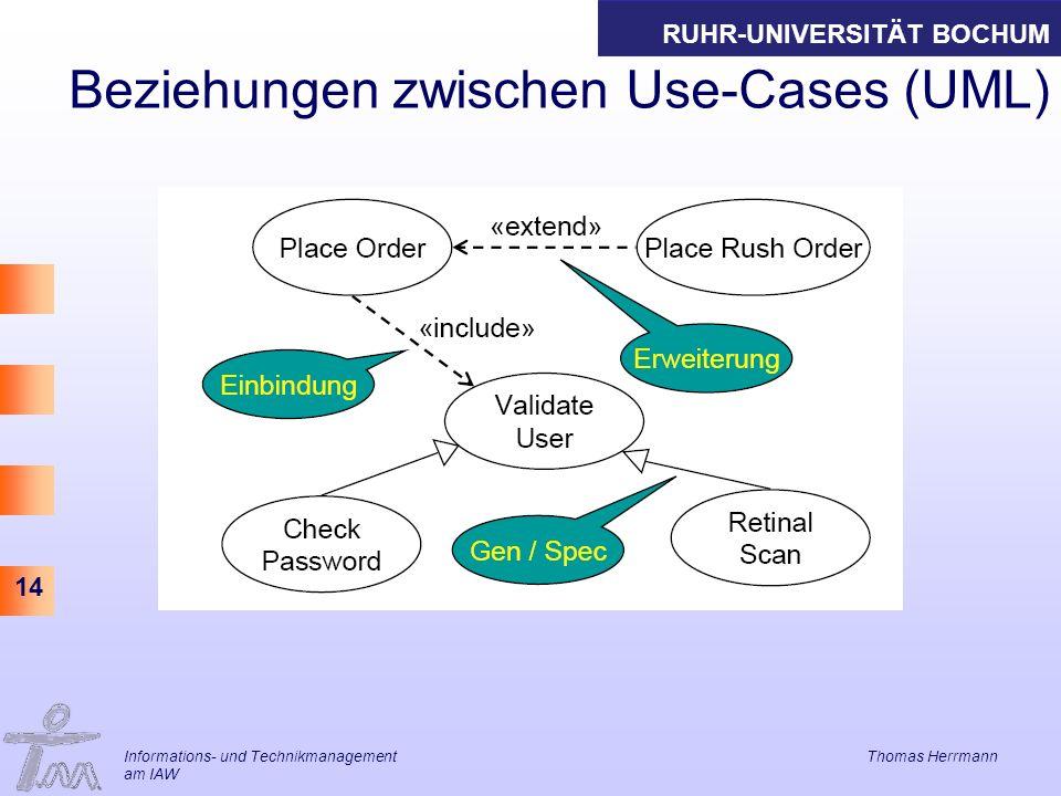 Beziehungen zwischen Use-Cases (UML)