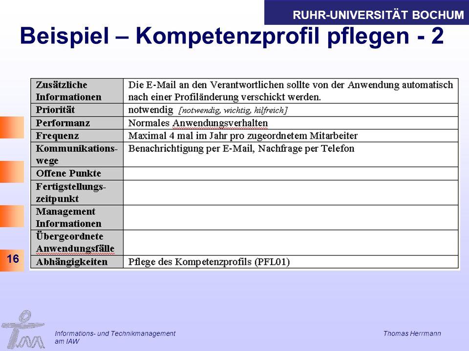 Beispiel – Kompetenzprofil pflegen - 2