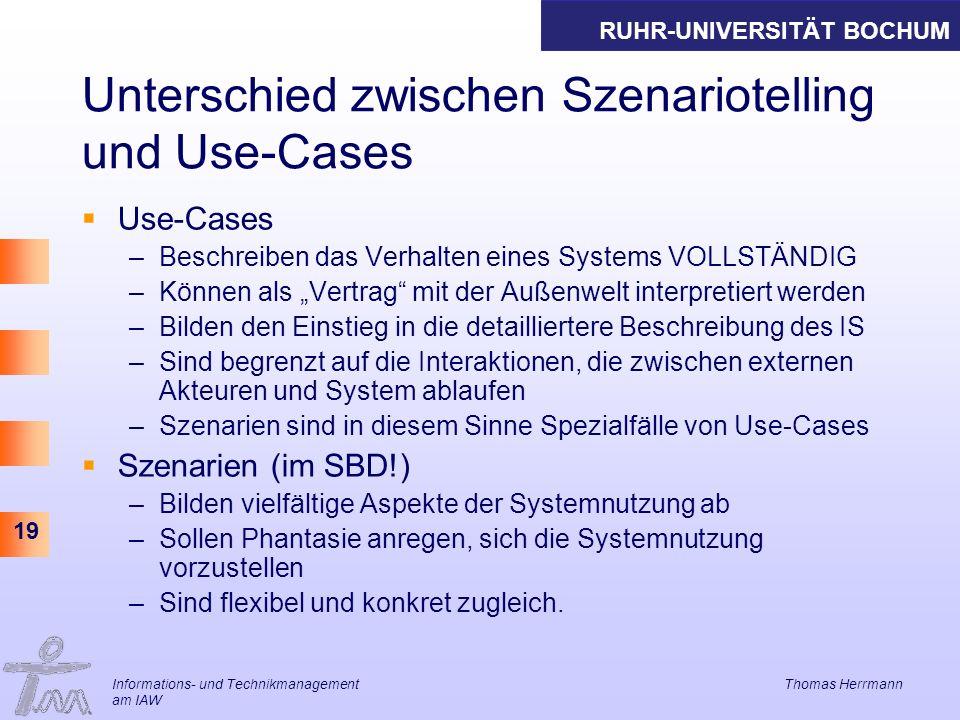 Unterschied zwischen Szenariotelling und Use-Cases