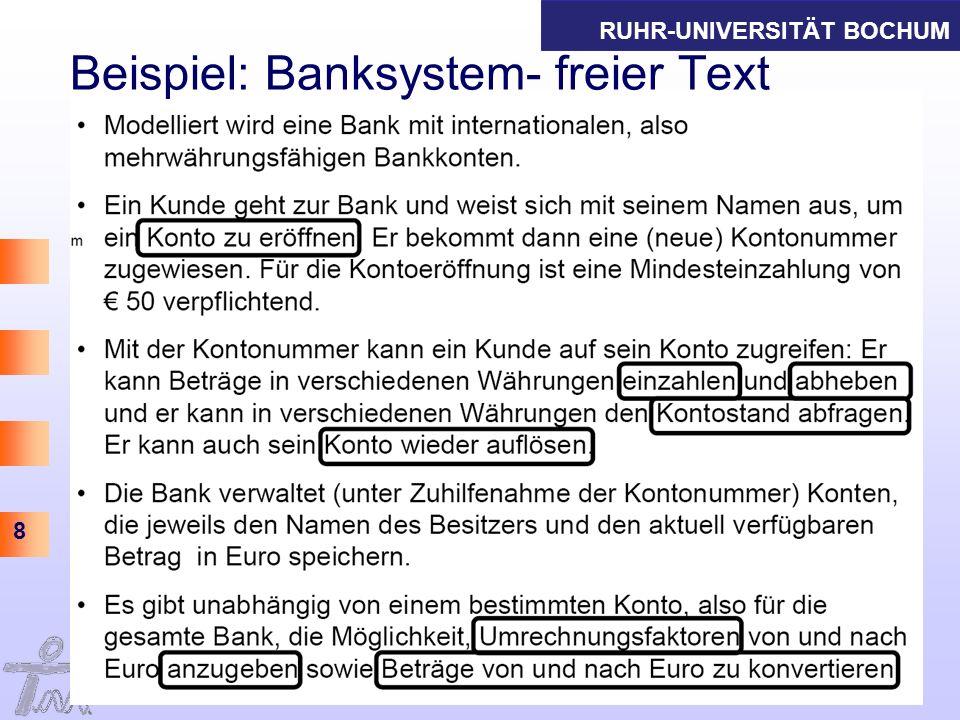 Beispiel: Banksystem- freier Text